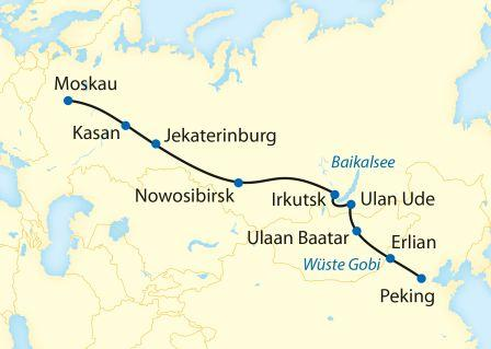 Zarengold-Route Peking - Moskau