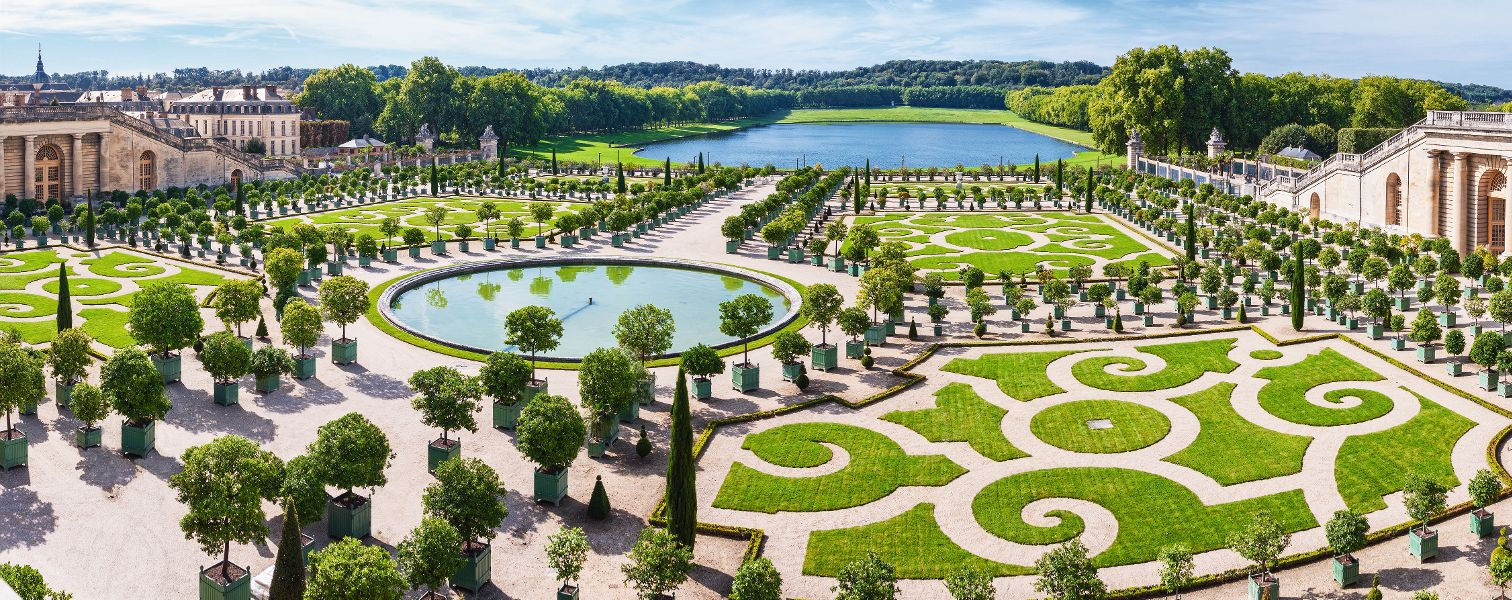 L'Orangerie garden and pond in Versailles palace in Paris, France